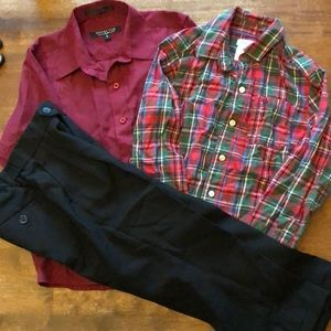 Other - Boys size 6 - 2 dress tops and black pants bundle